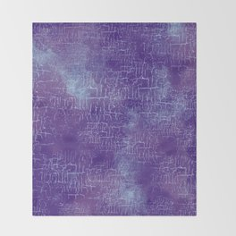 Abstract Grunge Art in Violet Purple and Blue Throw Blanket
