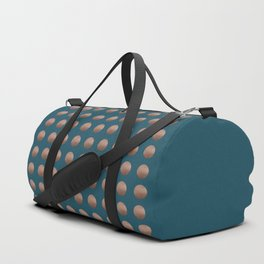 PENNIES lustre copper polka dots grid pattern on perfect teal Duffle Bag