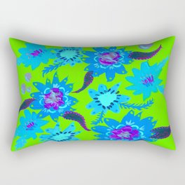 Neon Sky Blue Blooms Rectangular Pillow