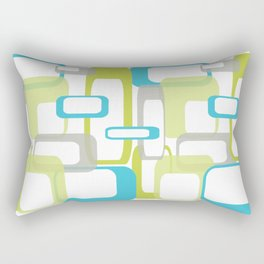 Mid-Century Modern Rectangle Design Blue Green and Gray Rectangular Pillow