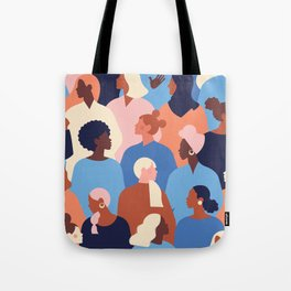 Female diverse faces of different ethnicity pattern Tote Bag