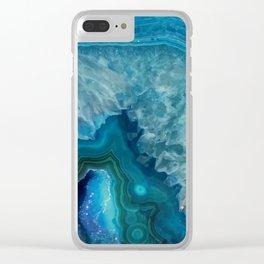 Aqua agate mineral gem stone Clear iPhone Case