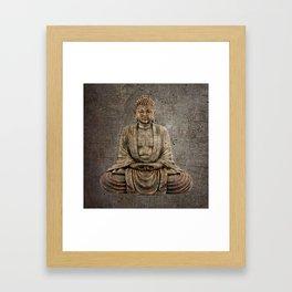 Sitting Buddha On Distressed Metal Background Framed Art Print