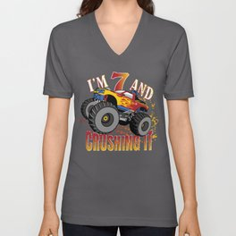 I'm 7 And Crushing It 7th Birthday Child Monster Truck Party design Unisex V-Neck
