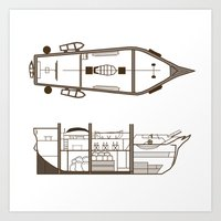 Ship Diagram Throw Pillow Art Print