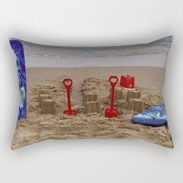 sandcastles, boards, buckets and spades at the beach Rectangular Pillow