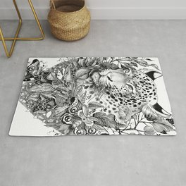 black and white jungle leopard Rug