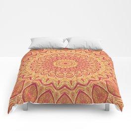 Tasty Tangerine Mandala Art Comforters