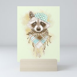 Rocco Raccoon - earth tones Mini Art Print