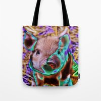 piglet Tote Bags featuring Funky Piglet by MehrFarbeimLeben