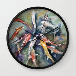 Watercolor hand painting Koi carp Wall Clock