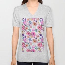 Elegant modern pink lilac orange watercolor floral Unisex V-Neck