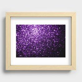 Beautiful Dark Purple glitter sparkles Recessed Framed Print