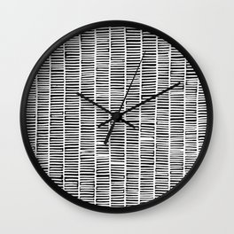 black and white weave pattern IV Wall Clock