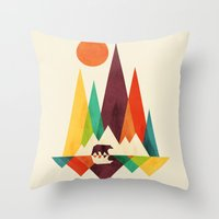 bear Throw Pillows featuring Bear In Whimsical Wild by Picomodi