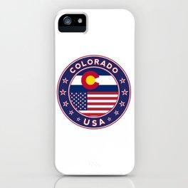 Colorado, Colorado t-shirt, Colorado sticker, circle, Colorado flag, white bg iPhone Case