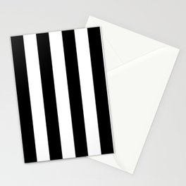 Simply Vertical Stripes in Midnight Black Stationery Cards