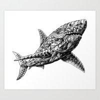 bioworkz Art Prints featuring Great White by BIOWORKZ