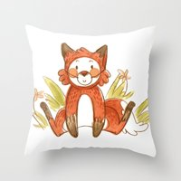 relax Throw Pillows featuring Relax by Pencil Box Illustration