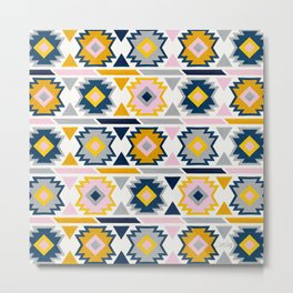 Kilim Abundance Pattern - Slate & Marigold Palette Metal Print