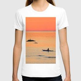 Kayak and Birds under Orange Skies T-shirt