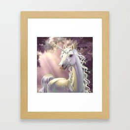 Unicorn in the forest Framed Art Print