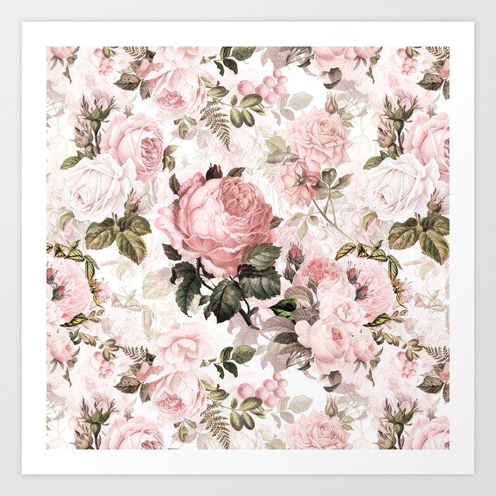 Vintage & Shabby Chic - Sepia Pink Roses  Kunstdrucke