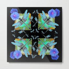 BLUE MORNING GLORIES & DRAGONFLIES BLACK ART Metal Print