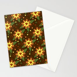 Flowers versus Hearts Stationery Cards