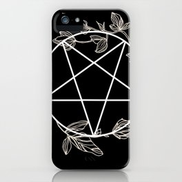 Pentagram with Plant Adornments - on black iPhone Case