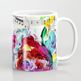 Musical Beauty - Floral Abstract - Piano Notes Coffee Mug