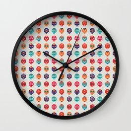 Cute Mexican Wrestling Lucha Masks Pattern Wall Clock