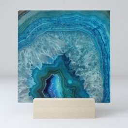Blue agate marble faux druse crystal quartz gem gemstone geode mineral stone photograph hipster Mini Art Print