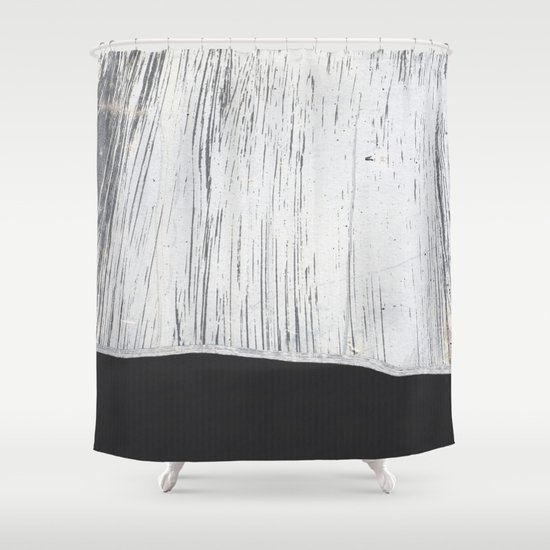 Scratched White Plaster And Charcoal Grey Lined Pattern Shower Curtain By Natural Design Society6