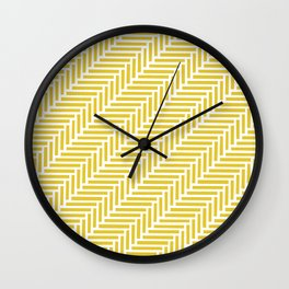 Herringbone 45 Yellow Wall Clock