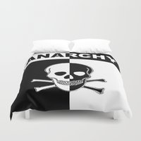 anarchy Duvet Covers featuring ANARCHY SKULL by shannon's art space