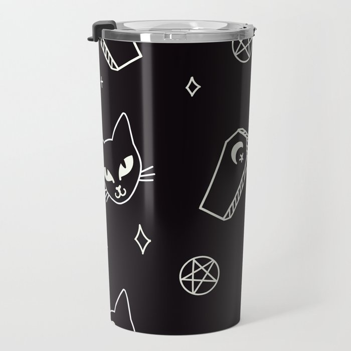 Cute Goth Kitties & Coffins Travel Mug