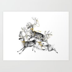 Fleeing reindeer Art Print