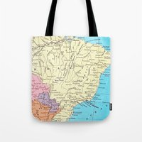 brazil Tote Bags featuring Brazil by inourgardentoo