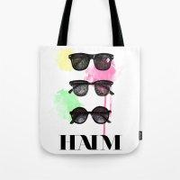haim Tote Bags featuring Haim (colour version) by Mariam Tronchoni