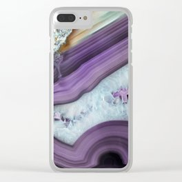 Purple Agate Slice Clear iPhone Case