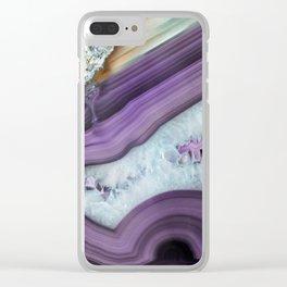 Purple Agate Slice Clear iPhone Case