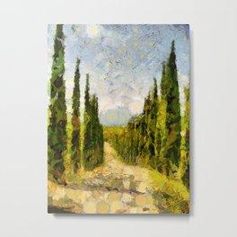 Rural landscape with cypresses Metal Print