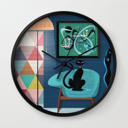 Creature Comforts Mid-Century Interior With Black Cat Wall Clock