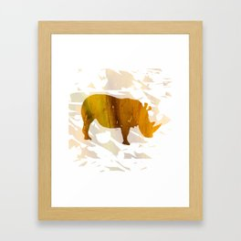 Colorful Art Rhino Abstract Yellow Framed Art Print