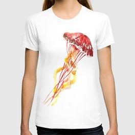 Jellyfish, Red, orange, Yellow design T-shirt