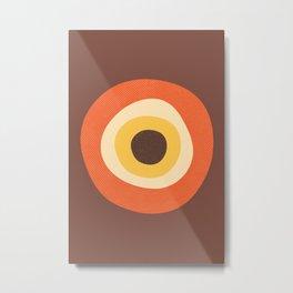 Retro Evil Eye Mid Century Modern 70s Style Geometric Orange Brown  Metal Print