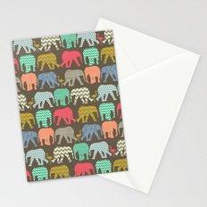 baby elephants and flamingos dark linen Stationery Cards