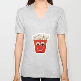 Happy smiling popcorn box with googly eyes and mouth Unisex V-Neck