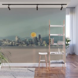 Blood Moon Over Seattle Wall Mural